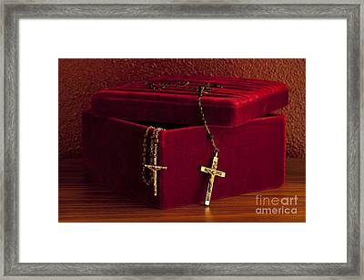 Red Velvet Box With Cross And Rosary Framed Print by Jim Corwin