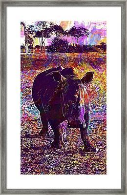 Framed Print featuring the digital art Rhino Africa Namibia Nature Dry  by PixBreak Art