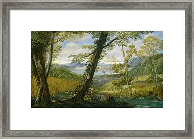 River Landscape Framed Print by Annibale Carracci