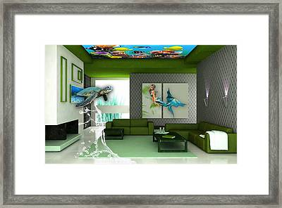 Rooftop Saltwater Fish Tank Art Framed Print