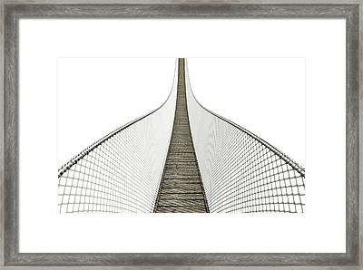 Rope Bridge On White Framed Print by Allan Swart