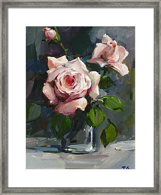 Framed Print featuring the painting Roses by Tigran Ghulyan