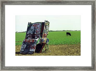 Route 66 - Cadillac Ranch Framed Print by Frank Romeo