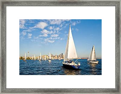 Sailing To Seattle Framed Print by Tom Dowd