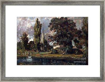 Salisbury Cathedral And Leadenhall From The River Avon Framed Print