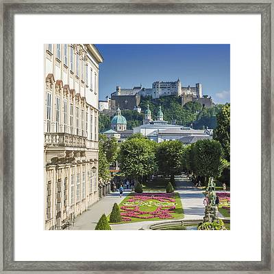 Salzburg Wonderful View To Salzburg Fortress Framed Print by Melanie Viola