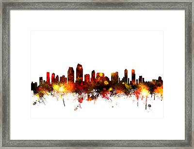 San Diego California Skyline Framed Print