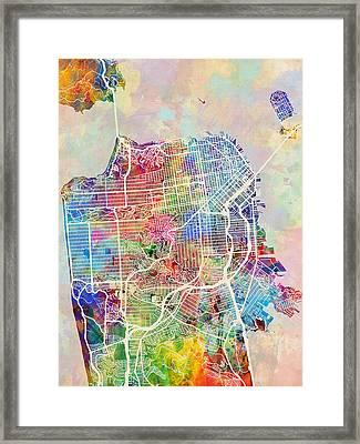 San Francisco City Street Map Framed Print by Michael Tompsett