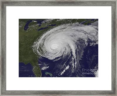 Satellite View Of Hurricane Irene Framed Print
