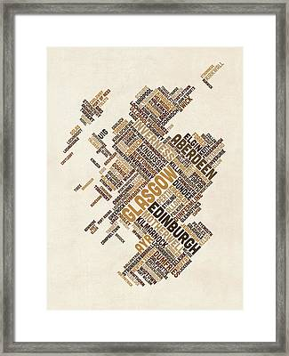 Scotland Typography Text Map Framed Print