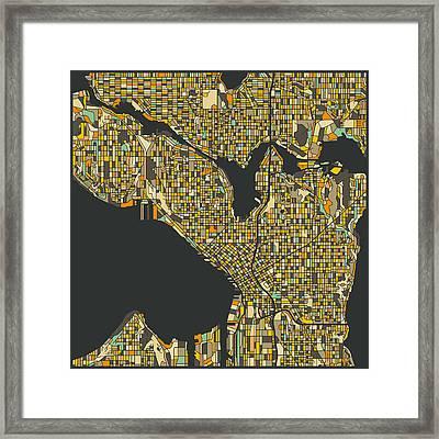 Seattle Map Framed Print