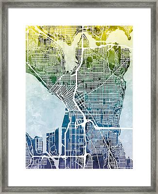 Seattle Washington Street Map Framed Print by Michael Tompsett