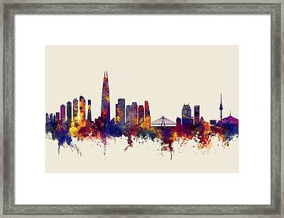 Seoul Skyline South Korea Framed Print