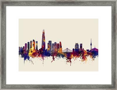 Seoul Skyline South Korea Framed Print by Michael Tompsett