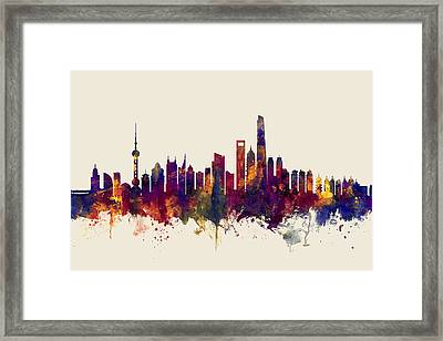 Shanghai China Skyline Framed Print
