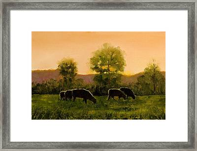 Framed Print featuring the painting Sheep In The Pasture by John Reynolds