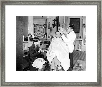 Silent Still: Barber Shop Framed Print by Granger