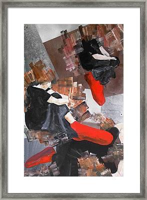 3 Siluets In Red Socks Framed Print by Evguenia Men