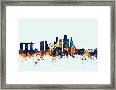 Singapore Skyline Framed Print by Michael Tompsett