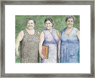 Framed Print featuring the drawing 3 Sisters by Albert Puskaric