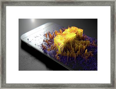 Smart Phone Emanating Augmented Reality Framed Print by Allan Swart