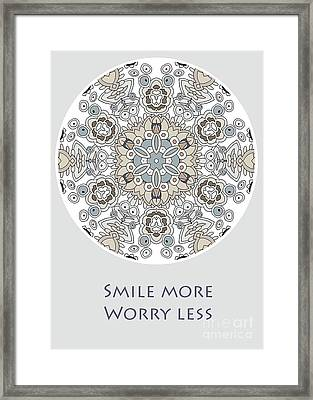 Smile More Worry Less Framed Print