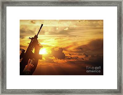 Soldier In Combat Shooting With His Weapon, Rifle. War, Army Concept Framed Print by Michal Bednarek