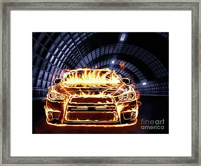 Sports Car In Flames Framed Print