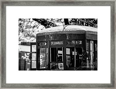 St. Charles Streetcar - Closeup Bw Framed Print