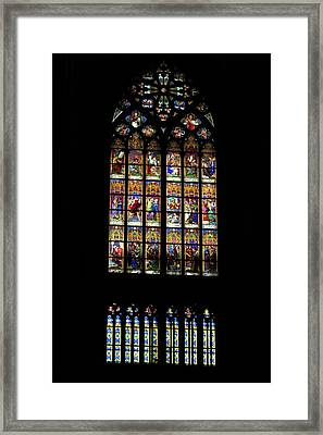 Stained Glass - Cologne Cathedral - Germany Framed Print by Jon Berghoff