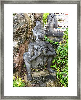 Statue Depicting A Thai Yoga Pose At Wat Pho Temple Framed Print