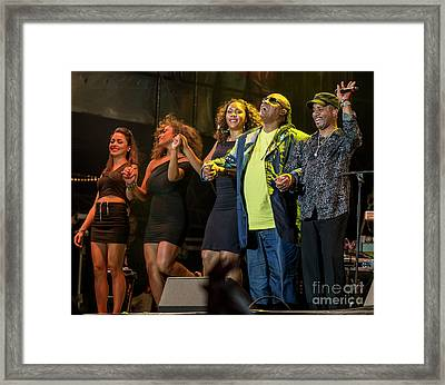 Stevie Wonder And Band Framed Print by David Oppenheimer