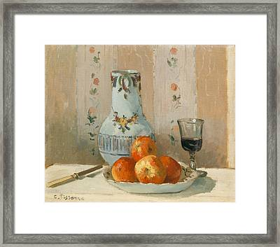 Still Life With Apples And Pitcher Framed Print by Camille Pissarro