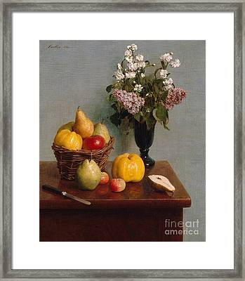 Still Life With Flowers And Fruit Framed Print