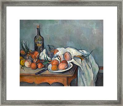 Still Life With Onions  Framed Print by Paul Cezanne