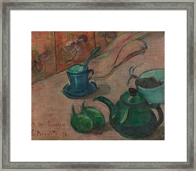 Still Life With Teapot, Cup And Fruit Framed Print