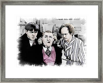 3 Stooges Can You Hear Me Now Framed Print by Dwayne  Graham