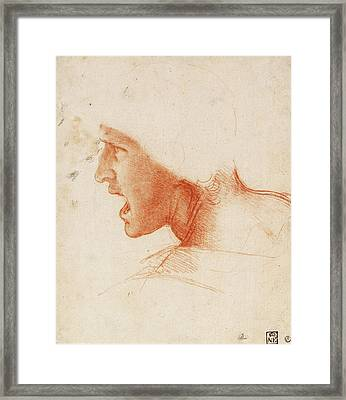 Study Of A Warrior's Head For The Battle Of Anghiari Framed Print