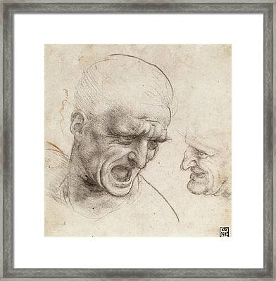 Study Of Two Warriors' Heads For The Battle Of Anghiari Framed Print