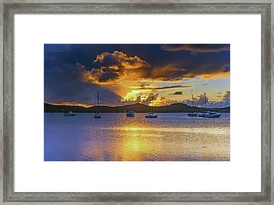 Sunrise Waterscape With Clouds And Boats Framed Print