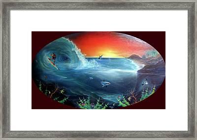 Sunset Surfer Framed Print by Sevan Thometz