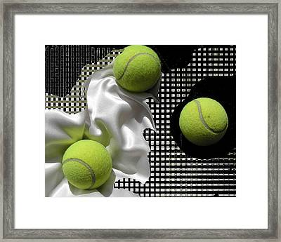 3 Tennis Balls Framed Print by Evguenia Men