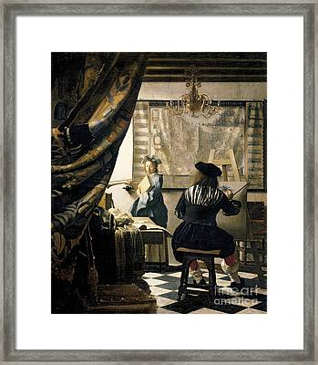 The Artist's Studio Framed Print by Jan Vermeer