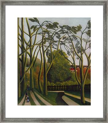 Framed Print featuring the painting The Banks Of The Bievre Near Bicetre by Henri Rousseau