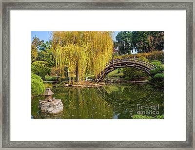 The Beautiful Fall Colors Of The Japanese Gardens In The Hunting Framed Print by Jamie Pham