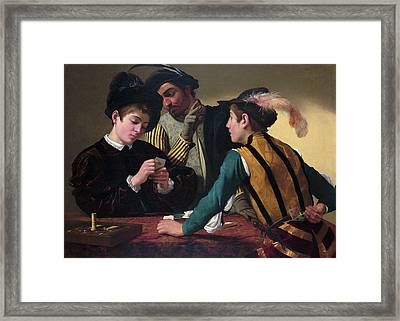 The Cardsharps Framed Print by Caravaggio