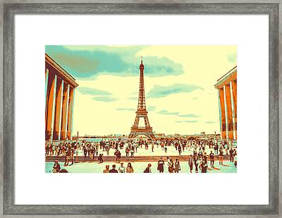 Framed Print featuring the pyrography The Eiffel Tower by Artistic Panda