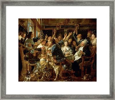 The Feast Of The Bean King Framed Print by Jacob Jordaens