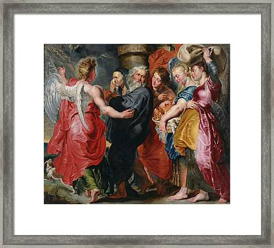 The Flight Of Lot And His Family From Sodom Framed Print