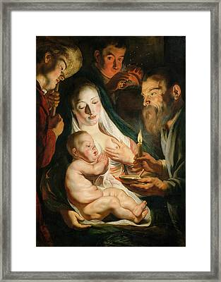 The Holy Family With Shepherds Framed Print by Jacob Jordaens
